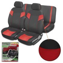 Capa Banco Automotivo Luxcar Premium Universal Tecido Poliéster Preto com Vermelho 6 Peças -