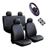 Capa Banco Carro Sintético + Capa Volante Ford Ka Hatch 2000 -