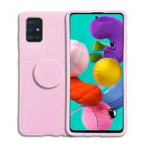 Capa Capinha Anti Impacto Samsung Galaxy A71 Glitter Rosa + Pop Socket de Brinde - Herói
