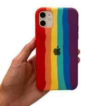 Capa capinha arco-íris colorida iPhone 11 pro - silicone cases
