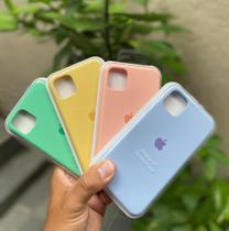 Capa capinha aveludada case iphone 11,KIT COM 4 peças verde,amarelo,azul,rosa - Top Luxo