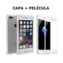 Capa Capinha case Anti Impacto antichock iPhone 7plus e 8plus + pelicula 3D para tela branca - Berwanger