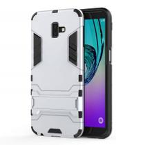 Capa Capinha Case Armadura Kickstand Samsung Galaxy J6 2018 Prata - Planeta Case