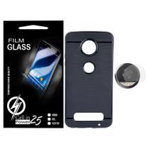Capa Capinha Case Emborrachada Carbon Preta + Pelicula de Camera Moto Z2 Play XT1710 (Tela 5.5) - Cell In Power25
