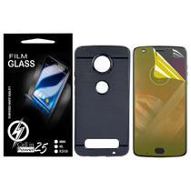 Capa Capinha Case Emborrachada Carbon Preta + Pelicula de Gel Moto Z2 Play XT1710 (Tela 5.5) - Cell In Power25
