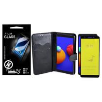 Capa Capinha Case Flip Carteira + Pelicula de Gel 5D Galaxy A01 Core A013 (Tela 5.3) - Cell In Power25