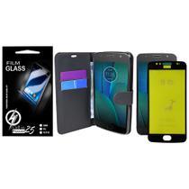 Capa Capinha Case Flip Carteira + Pelicula de Gel 5D Motorola Moto G5S XT1795 (Tela 5.2) - Cell In Power25