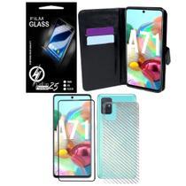 Capa Capinha Case Flip Carteira + Skin fibra de carbono + Vidro 3D  Galaxy A71 A715 (Tela 6.7) - Cell In Power25