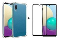 Capa Capinha Case Samsung Galaxy A02 Anti Shock + Película 3D 5D 9D Blindada Cobre 100% Da Tela Borda Resistente -