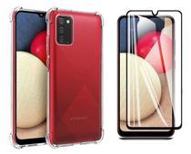 Capa Capinha Case Samsung Galaxy A02s Anti Shock + Película 3D 5D 9D Blindada Cobre 100% Da Tela Borda Resistente - ELETRODU