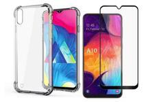Capa Capinha Case Samsung Galaxy A10 Anti Shock + Película 3D 5D 9D Blindada Cobre 100% Da Tela Borda Resistente - Eletrodu