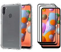 Capa Capinha Case Samsung Galaxy A11 Anti Shock + Película 3D 5D 9D Blindada Cobre 100% Da Tela Borda Resistente - ELETRODU