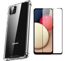 Capa Capinha Case Samsung Galaxy A12 Anti Shock + Película 3D 5D 9D Blindada Cobre 100% Da Tela Borda Resistente - ELETRODU