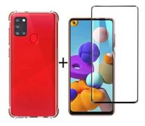 Capa Capinha Case Samsung Galaxy A21s Anti Shock + Película 3D 5D 9D Blindada Cobre 100% Da Tela Borda Resistente - ELETRODU