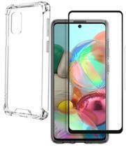 Capa Capinha Case Samsung Galaxy A71 Anti Shock + Película 3D 5D 9D Blindada Cobre 100% Da Tela Borda Resistente - Eletrodu