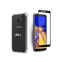 Capa Capinha Case Samsung Galaxy J4 Plus  Anti Shock + Película 3D 5D 9D Blindada Cobre 100% Da Tela - Eletrodu