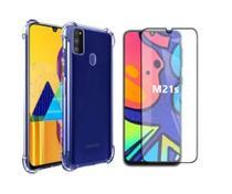 Capa Capinha Case Samsung Galaxy M21s Anti Shock + Película 3D 5D 9D Blindada Cobre 100% Da Tela Borda Resistente - Eletrodu