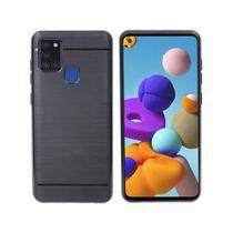 Capa Capinha Emborrachada Carbon Preta + Pelicula de Gel 5D Samsung Galaxy a21s - Xmart
