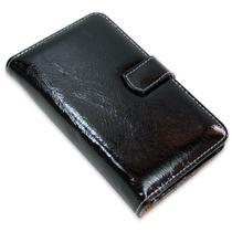 Capa carteira couro 8 cartoes verniz preto iphone 7 plus - Cellway