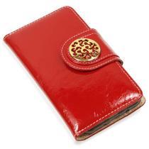 Capa carteira couro johari verniz vermelho moto g9 power xt2091 - Cellway