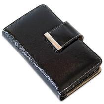 Capa carteira couro luna verniz preto iphone 7 plus - Cellway