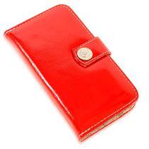 Capa carteira couro strass verniz vermelho samsung a30 a305 - Cellway