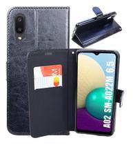Capa Carteira Flip Antishock (PRETA) Porta Cartão P/ Samsung Galaxy A02 - DV