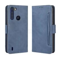 Capa Carteira Luxury Motorola One Fusion Plus  Azul - Oem