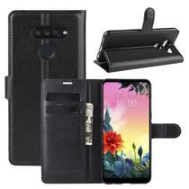 Capa Carteira (PRETA) Flip Antishock Porta Cartão P/ LG K50S + Película De Gel - Hmaston