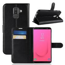 Capa Carteira (PRETA) Flip Antishock Porta Cartão P/ Samsung Galaxy A6+ Plus / Galaxy J8 - Dv Acessorios
