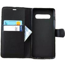 Capa Carteira (PRETA) Flip Antishock Porta Cartão P/ Samsung Galaxy S10 6.1 Pol - Dv Acessorios
