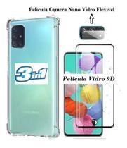 Capa Case Anti Impacto Galaxy A51 + Pelicula Vidro 9D  + Pelicula Camera - Flex