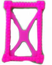 Capa Case Emborrachada Anti Queda Azul Preto Rosa Com Película De Vidro Para Tablet De 7 Polegadas - Fam
