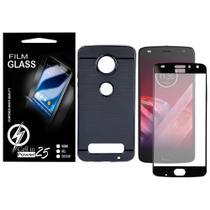 Capa Case Emborrachada Carbon Preta + Pelicula de vidro FULL 3D (Borda Preta) Moto Z2 Play XT1710 - Cell In Power25
