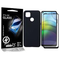 Capa Case Emborrachada Carbon Preta + Pelicula de vidro FULL 3D Moto G9 Power XT2091-4 (Tela 6.5) - Cell In Power25