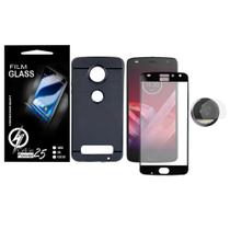 Capa Case Emborrachada Carbon Preta + Vidro Full 3D Preta  + Pelic De Camera Moto Z2 Play XT1710 - Cell In Power25