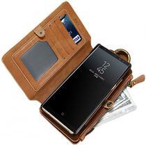 Capa Case Flip Carteira Galaxy S10 Plus + Tela 6.4 Classica Premium Multi Cartões 2 em 1 Vintage - Global Capas