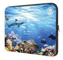 Capa Case Pasta Maleta Notebook 15, 13, 11 Neoprene Personalizada Fundo do Mar Coleção Pets Projeto Oceanos - Deluzz