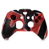 Capa Case Protetora de Silicone Gel Para Controle Xbox One Camuflada Vermelho Preto e Branco FEIR FR-314-1M -
