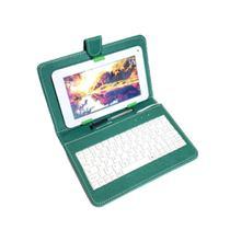 "Capa Case tablet 7"" com Teclado Usb verde + cabo otg + caneta - Hoopson"
