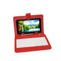 """Capa Case tablet 7"""" com Teclado Usb vermelha + cabo otg + caneta - hoopson"""