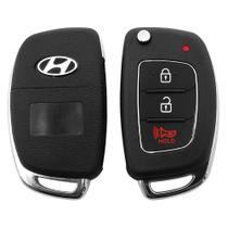Capa Chave Carcaça Hyundai HB20 3 Botões Preta -