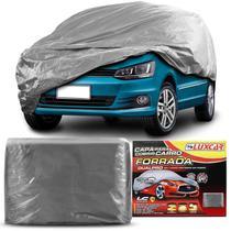 Capa Cobrir Carro DualPro Luxcar Cinza Forro Central Tamanho P M G com Elástico -