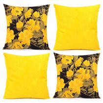 Capa de Almofada Kit 4 Unidades Amarelas e Florais 45cm x 45cm com zíper + Prot. de Braço de Sofá - Moda Casa Enxovais