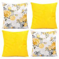 Capa de Almofada Kit 4 Unidades Amarelas Florais 45cm x 45cm com zíper + Prot. de Braço de Sofá - Moda Casa Enxovais