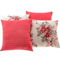 a87a4d66d Capa de Almofadas Decorativas 4 peças Floral Vermelho - Bia enxovais