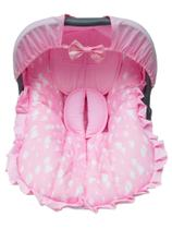 Capa de Bebê Conforto com Capota Rosa com Nuvens - Arco Íris Encantado