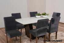 Capa de cadeira 4 lugares mesa de jantar veludo Cinza - EMPÓRIO DO LAR