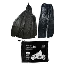 Capa de Chuva Conjunto Motoqueiro Delivery Motoboy Kit Capa e Calça com Fita Refletiva e Capuz - Novo Século