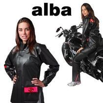 Capa De Chuva Feminina Motoqueira Alba Modelo Europa Preto -